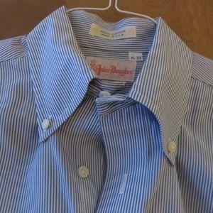 John Douglas blue/white pinstripe buttondown shirt